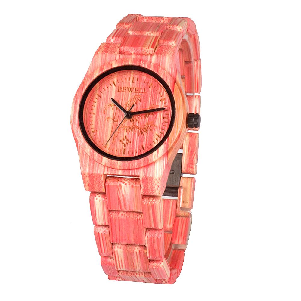 Bewell női fa karóra - rózsaszín mix f7262bc51d