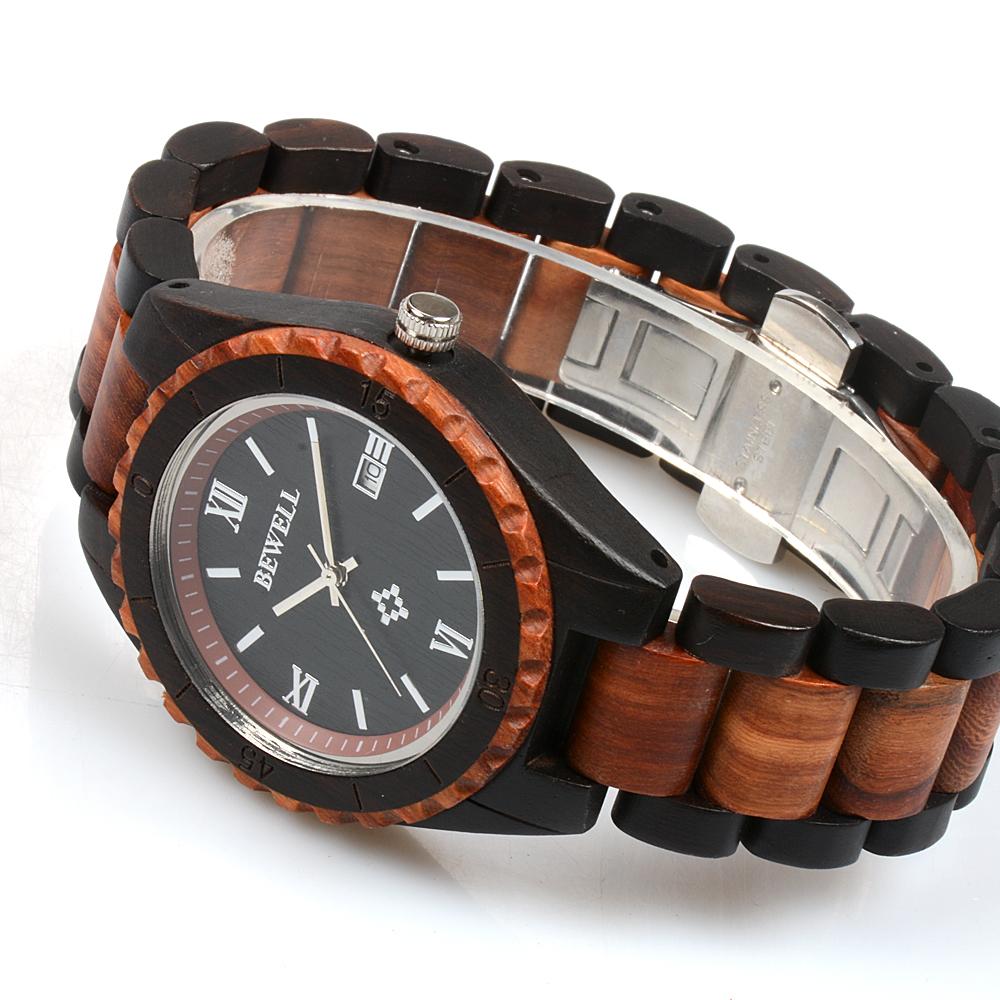 Bewell férfi fa karóra - fekete-barna - Fainshop.hu 3b34915f9d