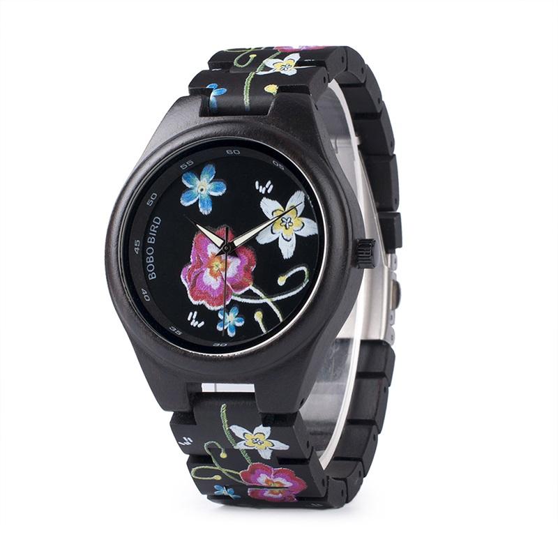 Bobo Bird női fa karóra - virágok-fekete - Fainshop.hu a669588e0d