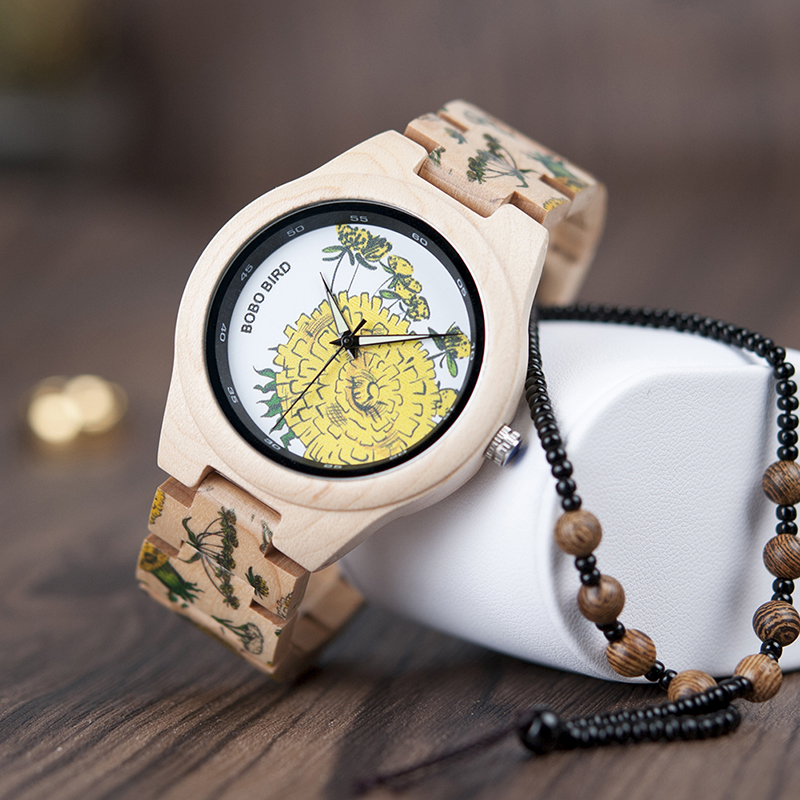 Bobo Bird női fa karóra - natúr-virág - Fainshop.hu af4eda8e0c