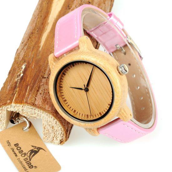 Női fa karóra bambusz rózsaszín